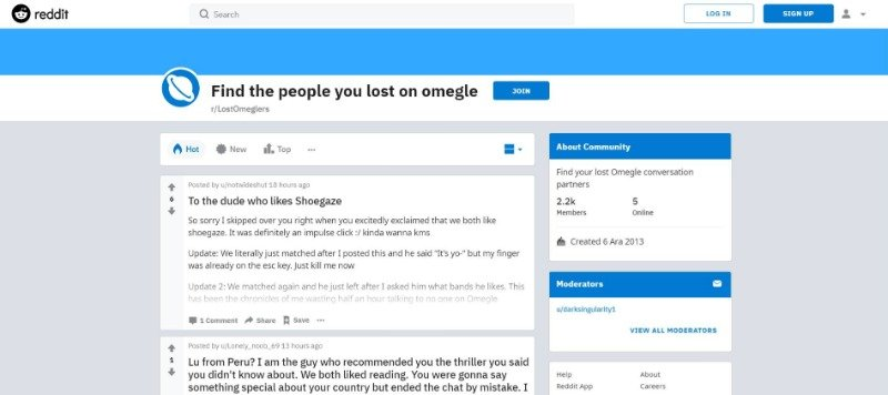 find a lost stranger on Omegle