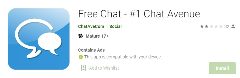 Chat-Avenue application on Play Store